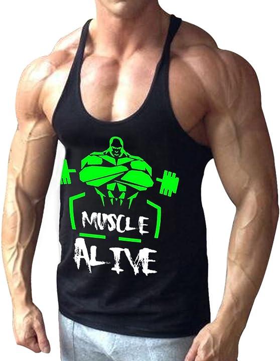 Canotta palestra uomo bodybuilding senza maniche stringer veste cotone alivebody B07DMC7BP6