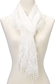 Cindy and Wendy Lightweight Soft Leaf Lace Fringes Scarf shawl for Women