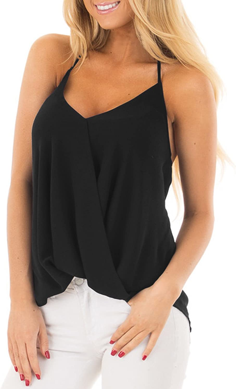 ACHIOOWA Mujer Camiseta Elegante Casual Playa Sin Manga Camisola Escote Tirantes Espalda Descubierta Cuello V Top Shirt
