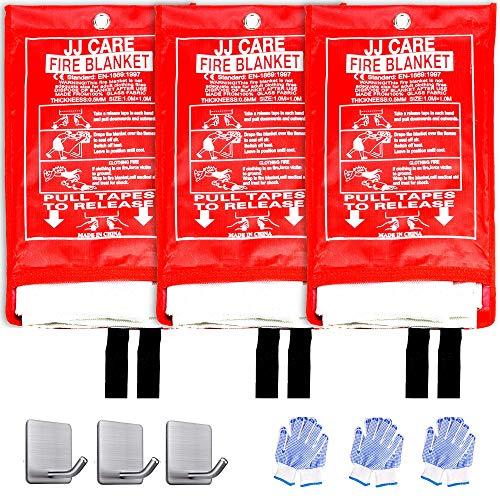 JJ CARE Fire Blanket for Home +3 Hooks & 3 Gloves, Fire Suppression Blanket, Emergency Fire Blanket for People, Fire Blanket Kitchen, Emergency Use - White