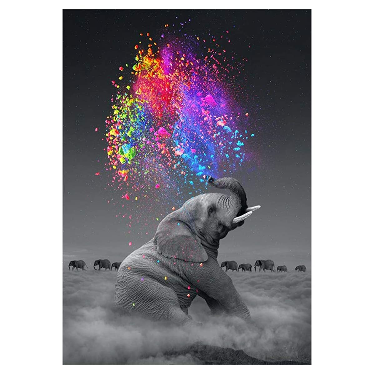 DIY 5D Diamond Painting by Number Kit for Adult Elephant Full Drill Diamond Painting Kit for Adults Home Wall Decor, Huge Size 14x20