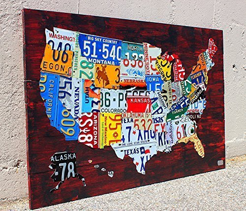 Us Map Made Of License Plates Amazon.com: License Plate Map of the United States: Handmade