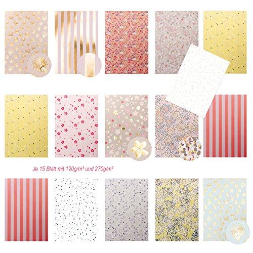Logbuch-Verlag edle Motivpapiere Bastelpapier Dekorpapier Scrapbooking-Block DIN A4 floral tw. glänzend pastell rosa beige gold 30 Blatt zum Basteln