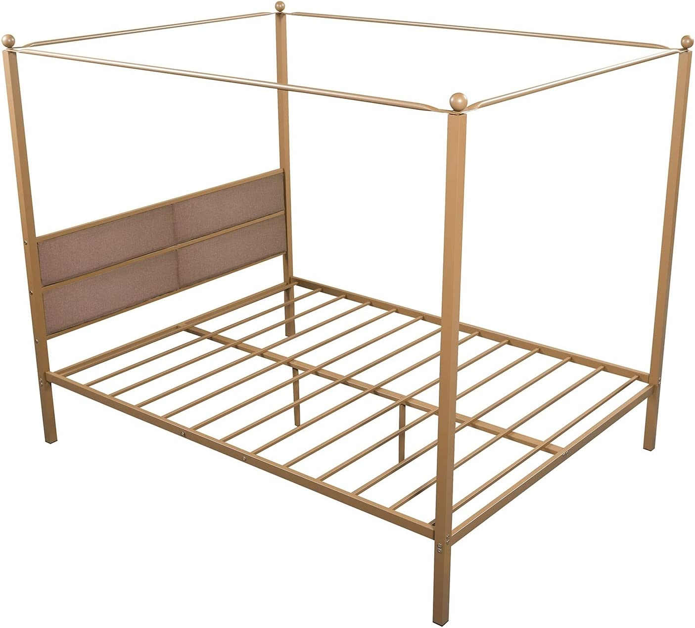 U D Atlanta Mall Double Bed Frame with Four-P Upholstered Canopy shop Queen Metal