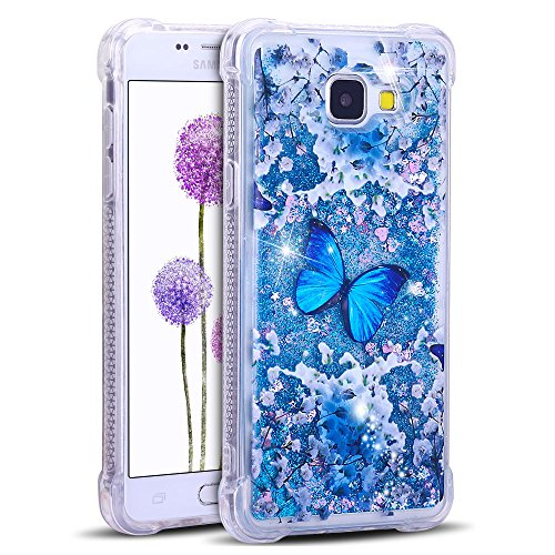 FroFine - Custodia Protettiva per Samsung Galaxy A5 2016, Trasparente, in Silicone TPU, Bumper dinamico con Glitter, Liquido, Resistente ai Graffi, Resistente agli Urti, Lucida