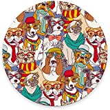 Round Mouse Pad, Colorful Dogs with Glasses Mouse Pad, Animal Gaming Mouse Mat Waterproof Circular Small Mouse Pad Non-Slip Rubber Base MousePads for Office Home Laptop Travel, 7.9