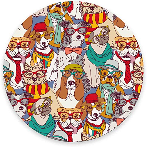 Round Mouse Pad, Colorful Dogs with Glasses Mouse Pad, Animal Gaming Mouse Mat Waterproof Circular Small Mouse Pad Non-Slip Rubber Base MousePads for Office Home Laptop Travel, 7.9'x0.12' Inch
