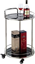 Wine Rack Bathroom Wheels Kitchen Cart/Metal Tempered Glass Wine Bottle Holder/Storage Holder/Home Restaurant Island Servi...