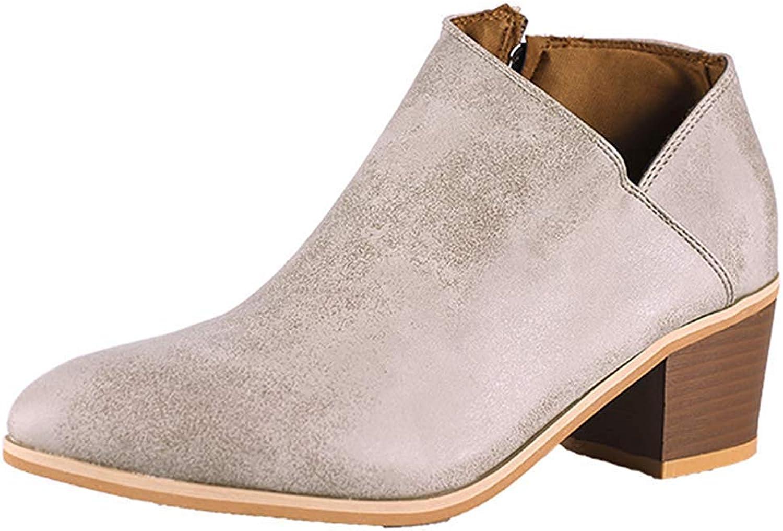 Lelehwhge Women's Retro Pointed Toe Stacked Medium Block Heel Side Zipper Ankle Booties Beige 9.5 M US