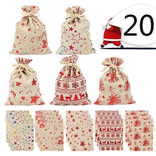LANMOK Bolsas Arpillera Navidad con Cordón 20pcs Saco de Dulces Navideñas para almacenar Caramelo Auriculares...