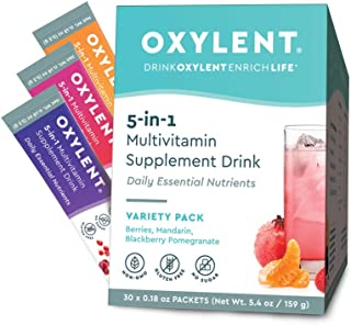 Oxylent 5-in-1 Multivitamin Supplement Drink - Sugar-Free & Effervescent for Easy Absorption of Vitamins, M...