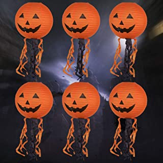 CLISPEED 6pcs Halloween Pumpkin Lantern Paper Pumpkin Lights with Swirl Scary Haunted House Props for Halloween Party Deco...