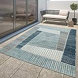 Tapis Outdoor Moderne Résistant Aux Intempéries Bleu Turquoise Géométrique Bleu Turquoise, Dimension:120x170 cm