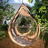 Kexsscai Wind Spinner 3D Stainless Steel Metal Sculptures Decorations, 3D Water Droplets Metal Wind Sculptures & Spinners for Indoor Outdoor Garden Decoration 12inch
