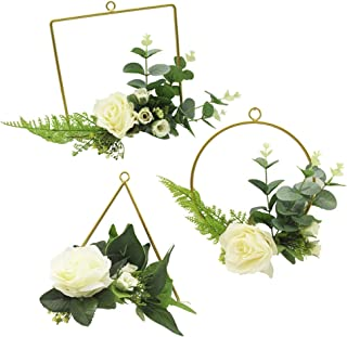ZJCilected Pack of 3 Handmade Artificial Eucalyptus Fern White Roses Flower Floral Metal Frame Wire Hoop Mini Wreath 8 inch Side Length/Diameter(3 White Rose Wreaths)