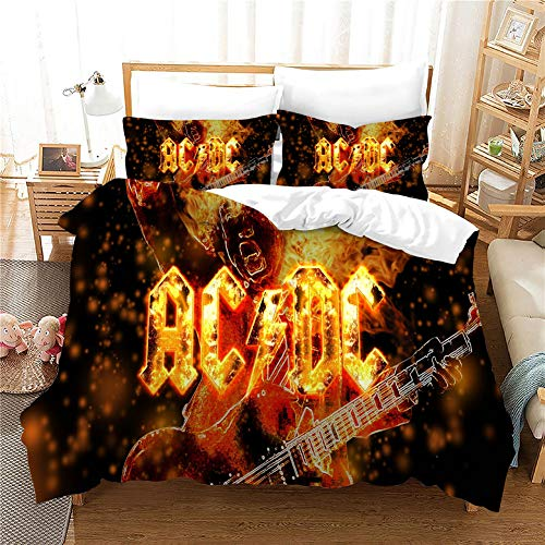 ACJIA ACDC Fashion Duvet Cover Set, Kids Teen Boys Girls Bed Bedding Cover with 2 Pillowcases,Soft Duvet Cover,No Comforter,A,135 * 200cm