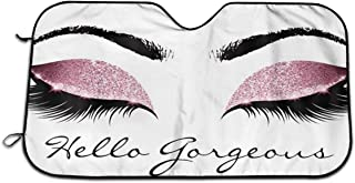 Best Hello Gorgeous Pink Eyeshadow Eyelash Universal Auto Accessories Windshield Visor Cover Foldable for Heat Sun Prevention Size 51.2x27.5 Inch Review