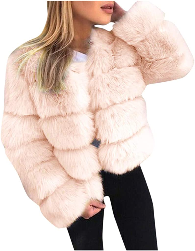 Misaky Women's Winter Faux Fur Coat Outdoor Plus Size Solid Long Sleeve Open Front Thick Warm Jacket