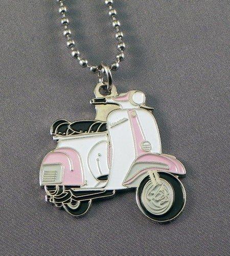 In Geschenkverpackung aus Emaille, Anhänger Vespa MOD Scooterist &White Pink