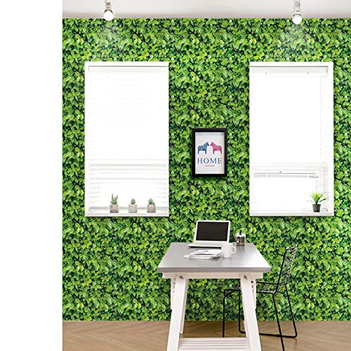 Nature Green Leaf Wallpaper Peel and Stick PVC Removable, Grassland Lawn Wall Sticker Turf Decor, 32.8 Ft X 17.9 inch