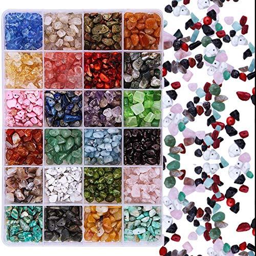 RENSHENKTO Cuentas de piedras preciosas aplastadas chips irregulares Set piedra natural Color 24 cuentas