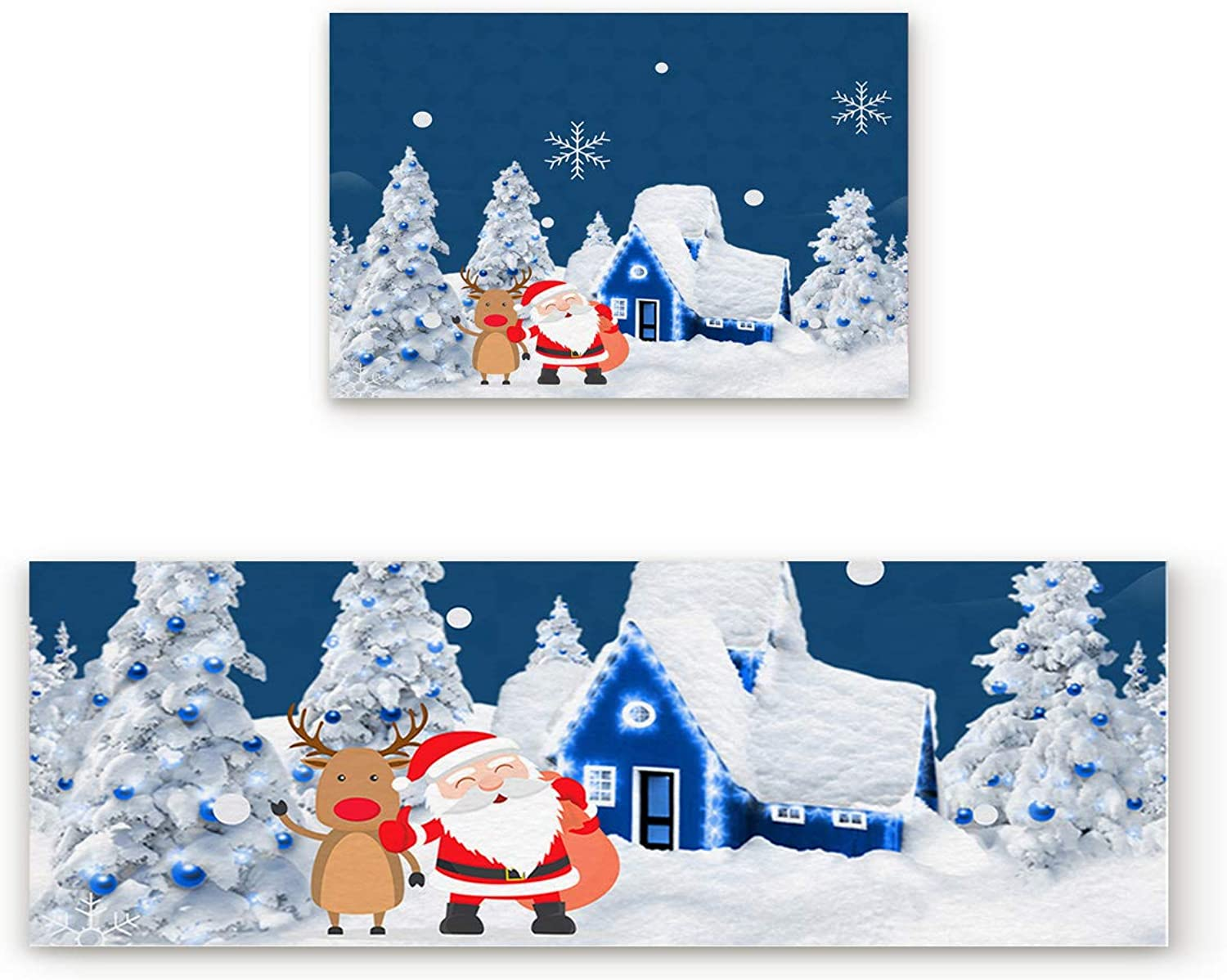 Aomike 2 Piece Non-Slip Kitchen Mat Rubber Backing Doormat Santa Claus Deer Outside The House Runner Rug Set, Hallway Living Room Balcony Bathroom Carpet Sets (19.7  x 31.5 +19.7  x 47.2 )