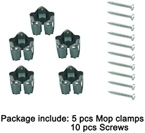 Ogrmar 5Pcs Mop and Broom Holder Wall Mounted Garden Storage Rack/Wall Organizer for Handled Tools with 10Pcs Screws ...