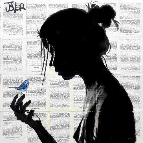 Posterlounge Leinwandbild 40 x 40 cm: Das hat Mir EIN Vögelchen gezwitschert von Loui Jover - fertiges Wandbild, Bild auf Keilrahmen, Fertigbild auf echter Leinwand, Leinwanddruck