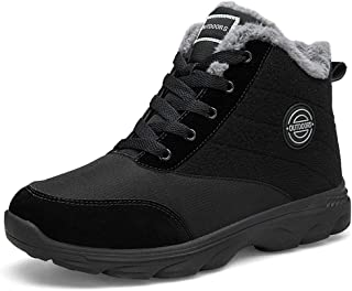 Alinb Mens Winter Snow Boots Women Ankle Boots Fur Lining Slip On Shoes