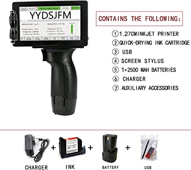 """Handheld Inkjet Printer,12.7mm/25.4mm Print Height with 5"""" Screen Touch-Screen USB Interface QR Code Label Coding 20 Lang"""