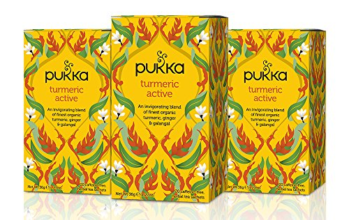 Pukka Herbs Turmeric Active, Organic Herbal Tea With Ginger & Galangal (3 Pack, 60 Tea Bags)