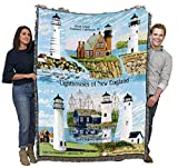 Lighthouses of New England - Boston, Black Island, Portsmouth, Nantucket, Mystic, Cape Cod - Cotton Woven Blanket Throw - Made in The USA (72x54)