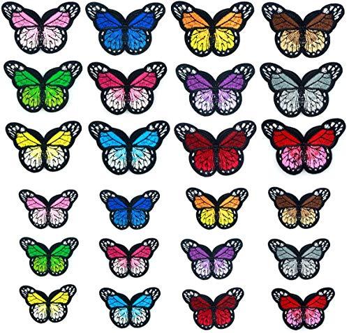 BJ-SHOP Toppe Farfalla Farfalle Toppe Termoadesive Farfalla Ferro Patch 24 Pezzi per Borse da Cucito Fai-da-Te Abbigliamento 2 Dimensioni