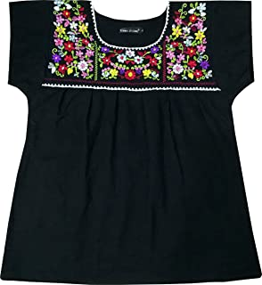 Womens Girls Embroidered Mexican Peasant Tops Mexican Bohemian Blouses