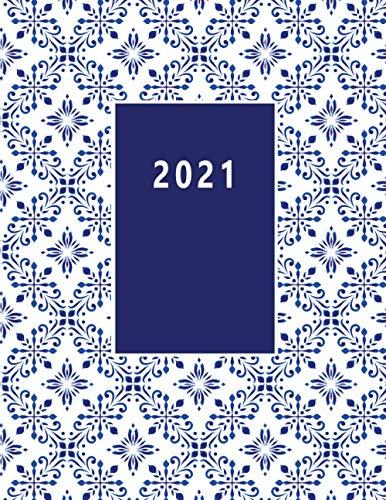 2021: Kalender XXL 2021 I Tagebuch I Terminkalender I Office Planer I Kalenderbuch I DIN A4 I 1 ganze Seite pro Kalendertag I Endlich genügend Platz ... und Notieren! I Blaue Fliesen Optik