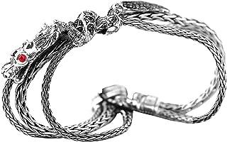 John Hardy Sterling Silver Black Sapphire NAGA Dragon Triple Chain Bracelet 92B Size M