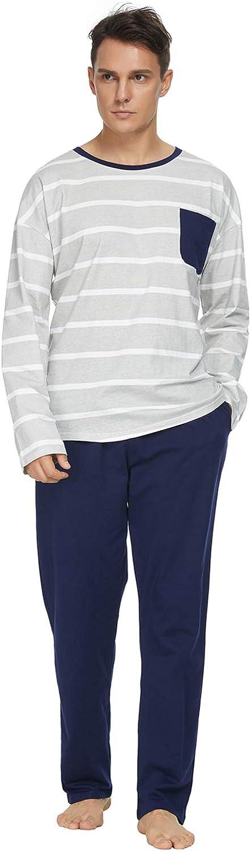GOSO Pajamas for Men-100% Cotton Mens Pajamas Set Lightweight Long Sleeve Top & Bottom Pjs Set Lounge Sleepwear