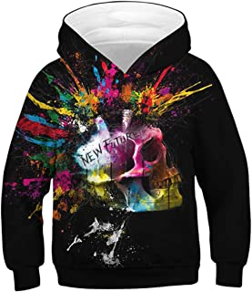 Enlifety Teens Pullover Hoody Boys Girls Hoodies 3D Print Novelty Hooded Sweatshirt Tops Clothes with Pockets 6-16 Years