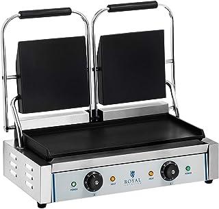 Royal Catering Machine à Panini Toaster Lisse RCKG- 3600-F (2x1800W, plaque de cuisson 48,5x23,5cm, récupérateur de graiss...