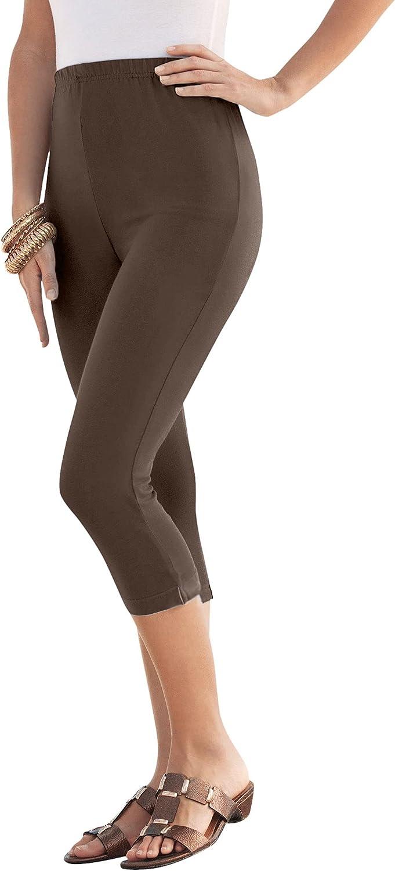 Roamans Women's Plus Size Essential Stretch Capri Legging Activewear Workout Yoga Pant