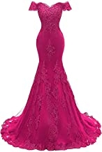 Women's Off The Shoulder Prom Dresses Long 2019 Mermaid Lace Beaded Sweetheart Formal Evening Ball Gowns