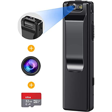 1080P Mini Body Camera, Portable Wireless Wearable Video Recorder with Clip/Magnetic. Motion Detection DV Camera for Outdoor Sports, Car, Home, Office Security (Camera with 32GB Card)