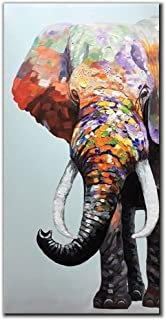 V-inspire Art,24x48 Inch Colourful Elephant Oil Painting Canvas Wall Art Wall Decorations Paintings for Living Room, Bedroom, Kitchen, Office Etc