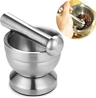 HGY Stainless Steel Mortar and Pestle Mixing Grinding Bowl Set Kitchen Garlic Grinder Tool