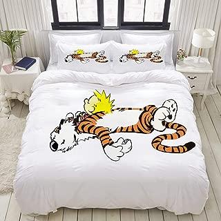 LUBATAGA Duvet Cover Set,Calvin&Hobbes, Decorative 3 Piece Bedding Set with 2 Pillow Shams,Queen
