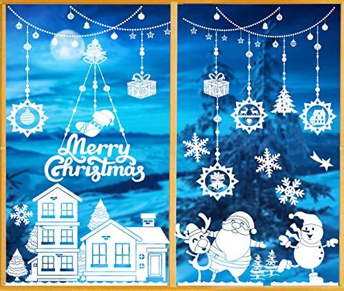 O-Kinee Weihnachten Fenstersticker, Fensteraufkleber PVC Fensterbilder Weihnachten Fensterdeko selbstklebend Fensterfolie Weihnachtsdekoration (Weiß-F)