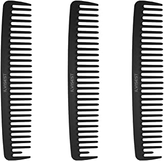 Ilvisest 8 Inch Detangling Comb,3Pack Black Carbon Fiber & Large wide Tooth Detangle Comb for Wet and Dry Hair, Straight C...
