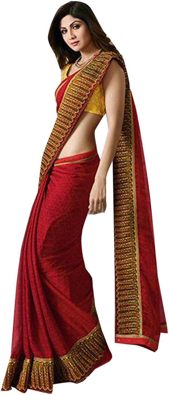 Red Big Border Indian Ethnic Light Weight Saree Designer Blouse 7482