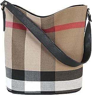 Wewo Modisch Canvas Damen schultertasche kariert Handtasche mädchen umhängetasche vintage henkeltaschen lässig damentasche...