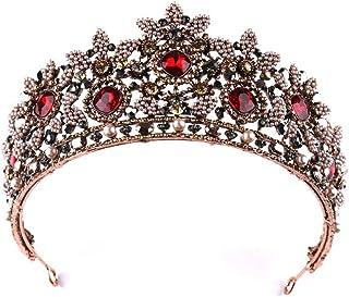FFSM Tiara Crown Accessori per Capelli Copricapo da Sposa Strass Set da Studio con Trucco per la Sposa Accessori da Sposa ...
